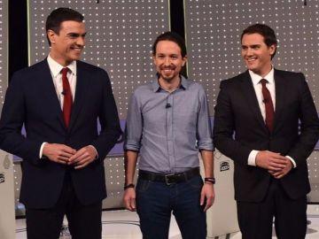 Pedro Sánchez, Pablo Iglesias y Albert Rivera
