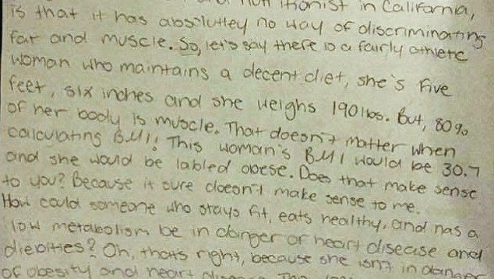 Parte de la carta que la joven escribió a la escuela