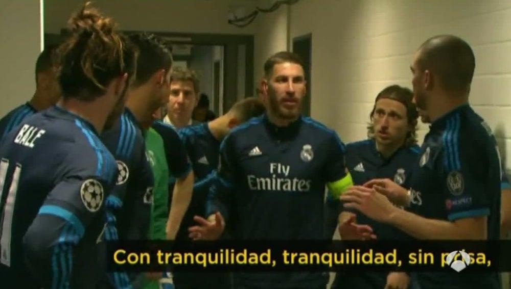 La charla de Sergio Ramos antes de empezar la segunda parte