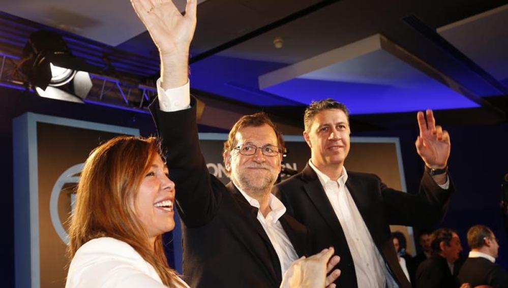 Mariano Rajoy, con Xavier García Albiol y Alicia Sanchez Camacho