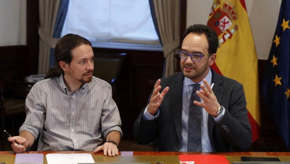 Pablo Iglesias y Antonio Hernando