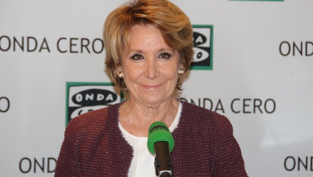 Esperanza Aguirre durante una entrevista en Onda Cero