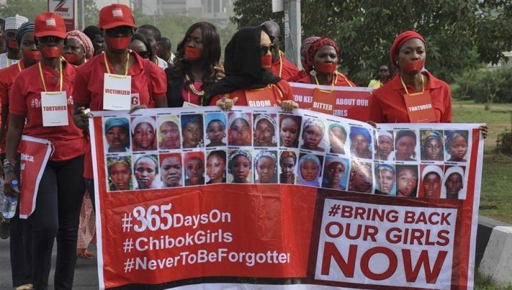 Manifestación para pedir la liberación de las más de 200 niñas secuestradas por el grupo Boko Haram en Chibok