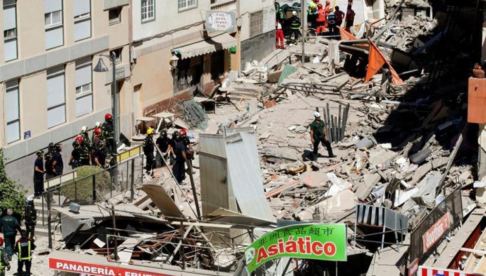 El edificio derrumbado en Tenerife