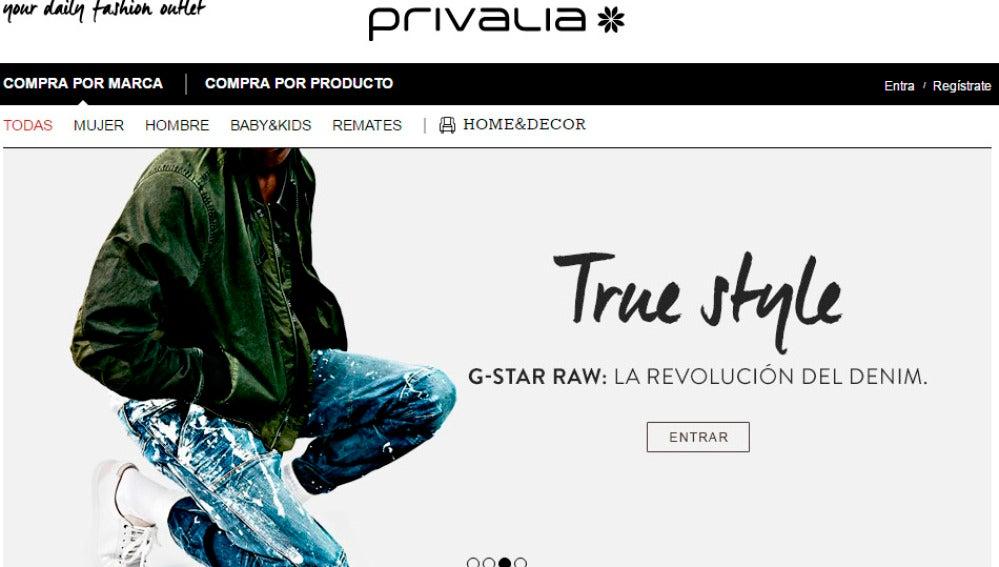 Página web de Privalia