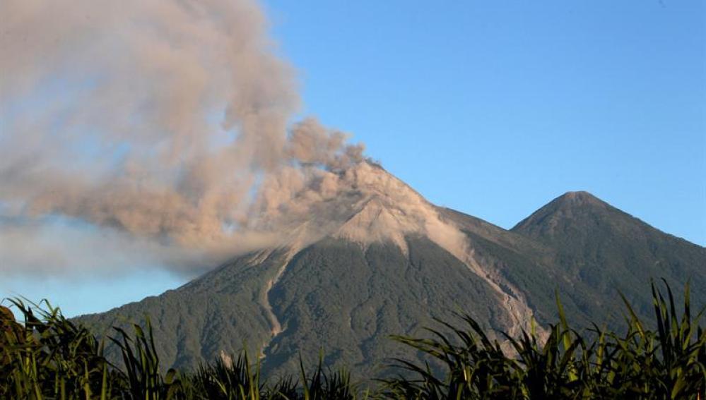 El volcán de Fuego de Guatemala