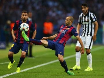Jordi Alba, Mascherano y Morata, en la final entre el Barça y la Juventus