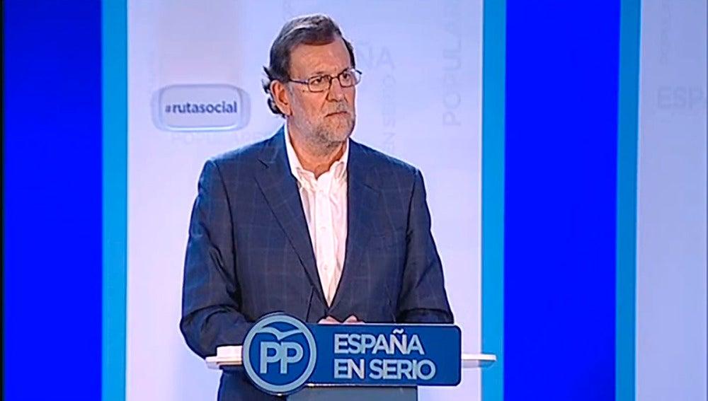 Mariano Rajoy en su intervención en un acto en Zaragoza