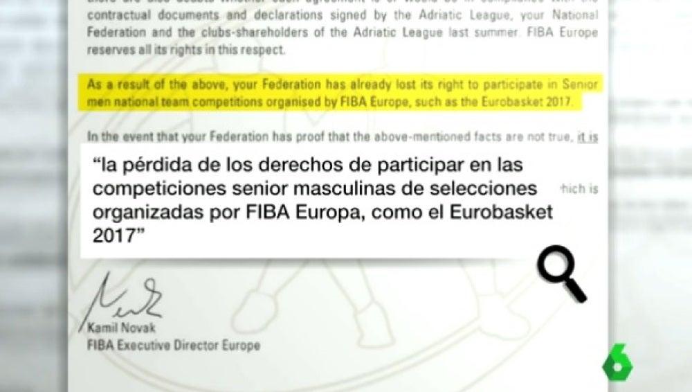 Carta de la FIBA a la FEB