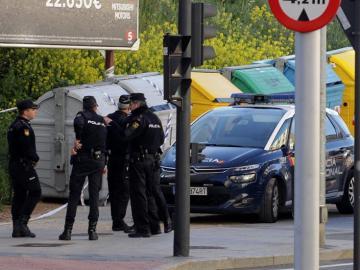 La Policía Nacional durante la búsqueda