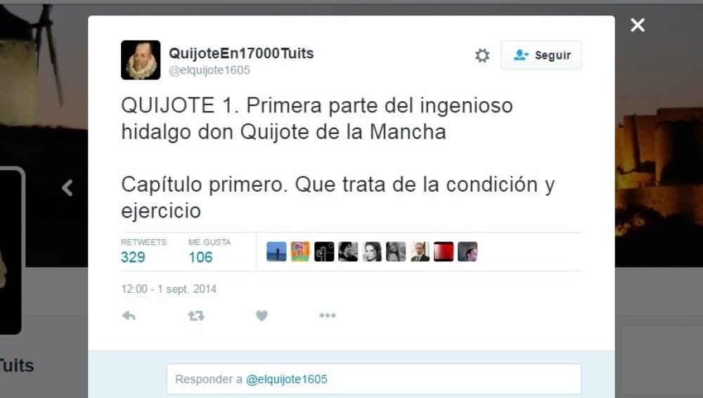Primer tuit de El Quijote
