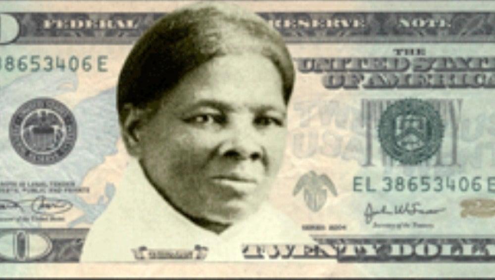 Montaje del futuro billete de dólar