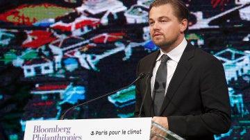 Leonardo DiCaprio, en una conferencia sobre el cambio climático