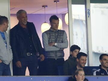 Jamie Vardy, en la grada observando un partido del Leicester