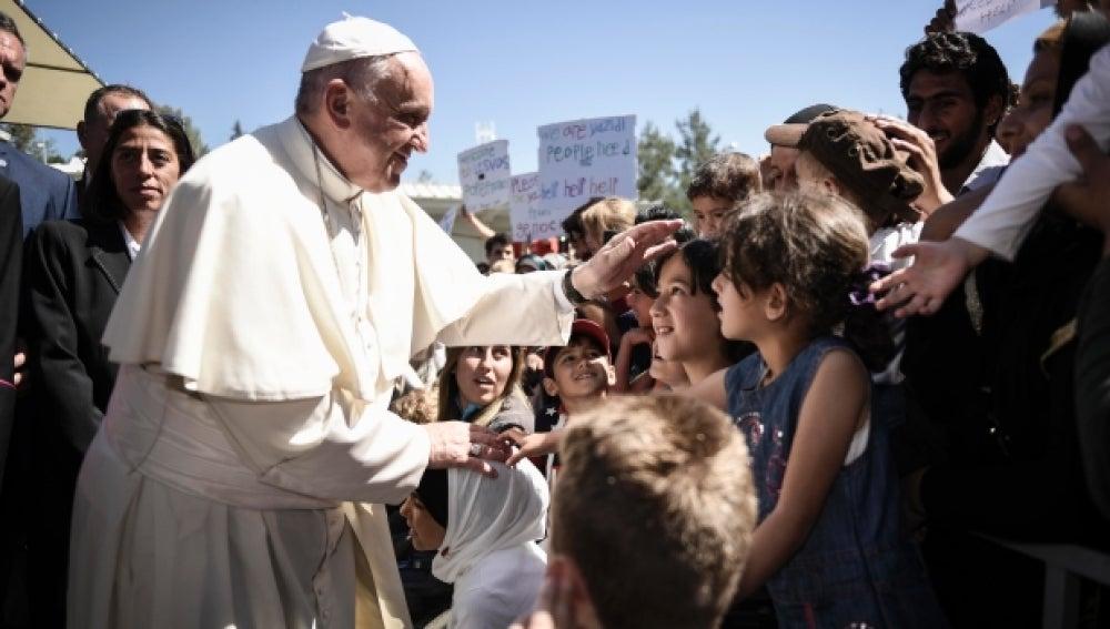 El Papa Francisco en la isla griega de Lesbos