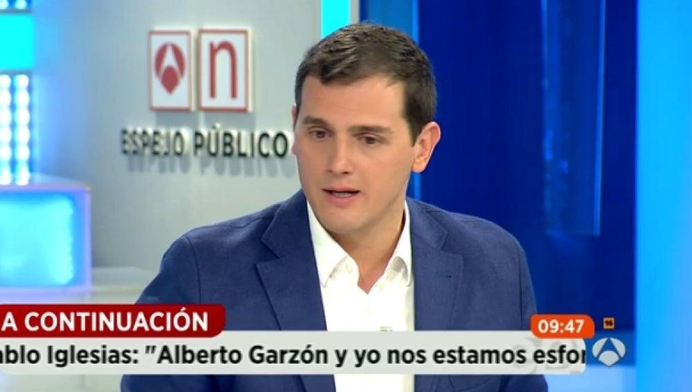 Albert Rivera, durante una entrevista en Espejo Público