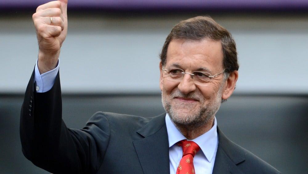 Mariano Rajoy durante un partido de la selección española