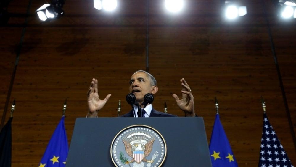 Barack Obama durante su discurso en Hannover