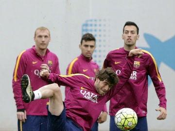 Mathieu, en el entrenamiento del Barcelona