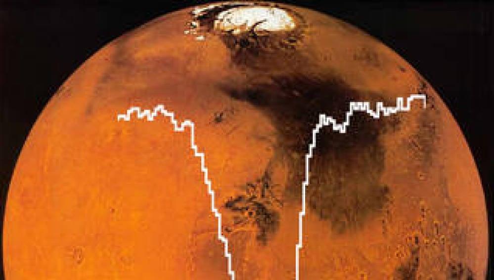 Espectro del oxígeno superpuesto sobre una imagen de Marte