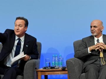 El presidente afgano, Ashraf Ghani y David Cameron