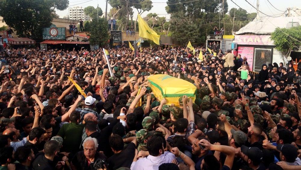 Funeral del líder militar de Hizbulá Mustafa Badredín, en Siria
