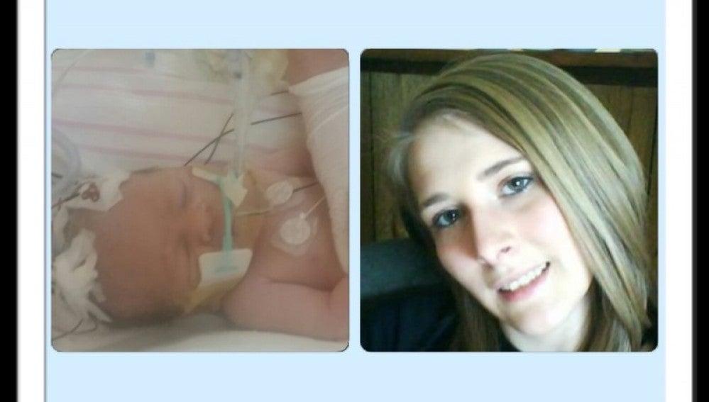 Imágenes de la pequeña y su madre