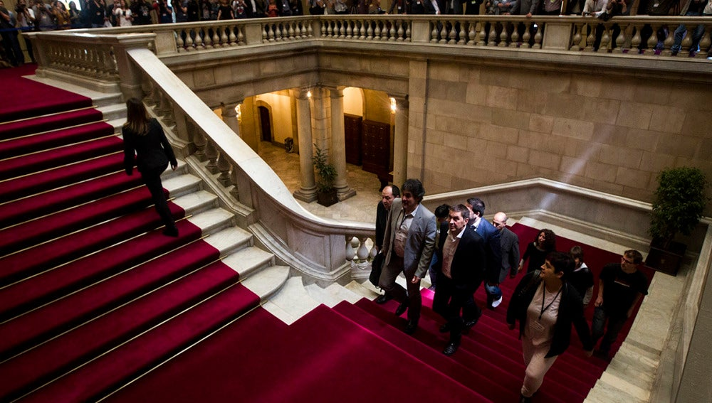 Arnaldo Otegi, a su llegada al Parlament