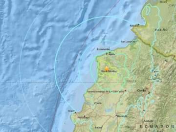 Epicentro del nuevo terremoto de 6,7 grados que ha sacudido Ecuador.