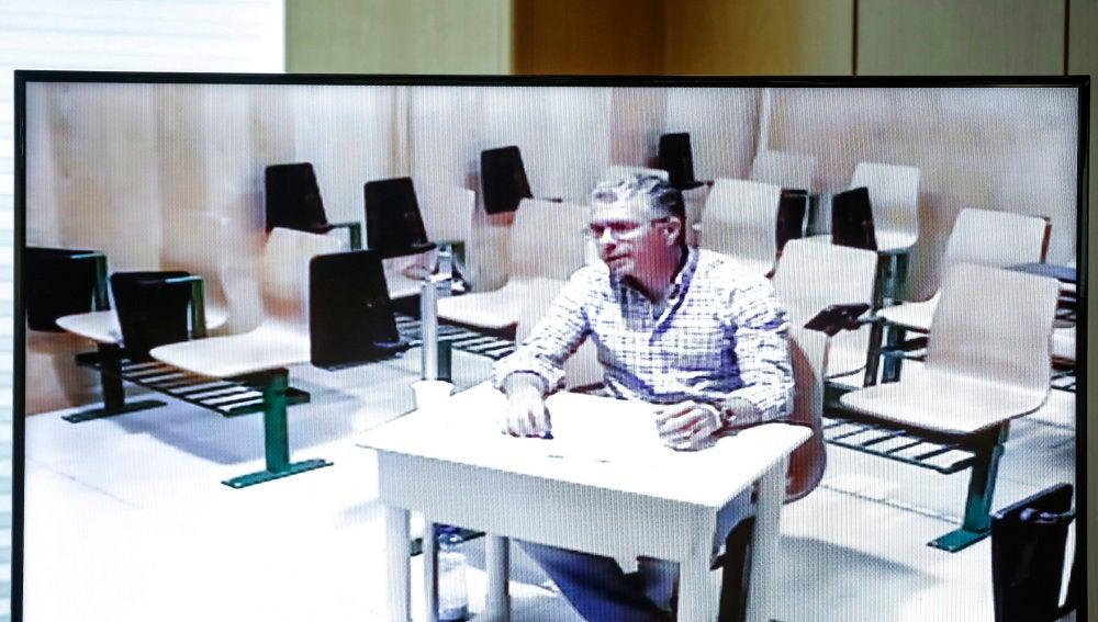 Francisco Granados, durante su comparecencia por videoconferencia en la Asamblea de Madrid