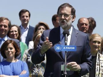 Mariano Rajoy en la presentación de la candidatura del PP en Madrid.