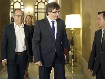 Carles Puigdemont a su llegada a la reunión que realizan el Govern