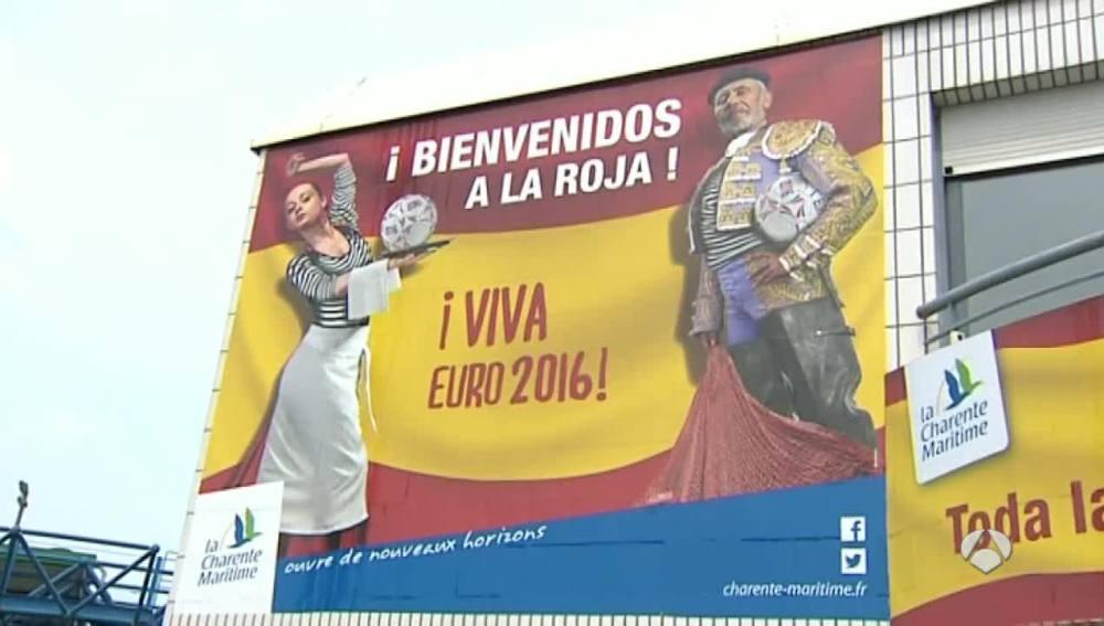 Cartel de bienvenida para España en la Isla de Ré