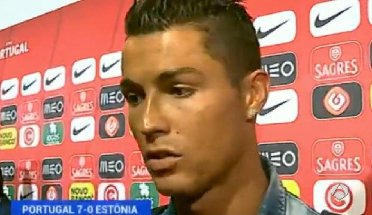 Cristiano Ronaldo hablando después del partido Portugal vs Estonia