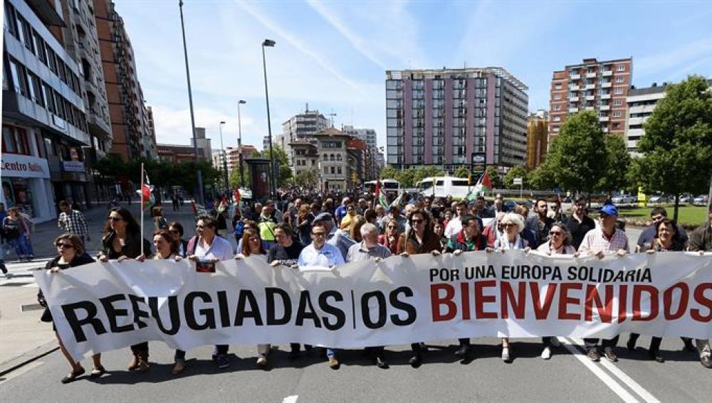 Manifestación a favor de mejorar las condiciones de los refugiados.