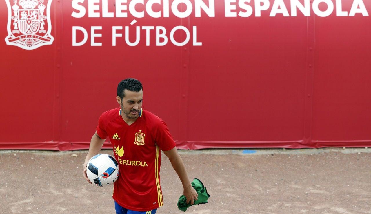 Pedro Rodríguez, en un entrenamiento de España en la Euro
