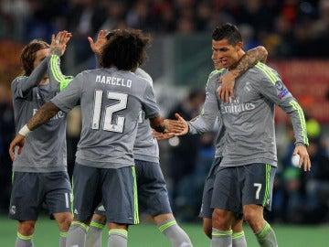 Cristiano celebra su gol en el Olímpico ante La Roma