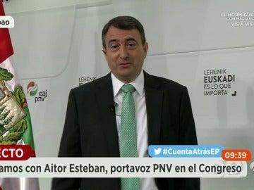 """Frame 18.671177 de: Esteban (PNV) sobre los pactos postelectorales: """"Habrá que ver qué lineas rojas se tienen que tragar quiénes"""""""