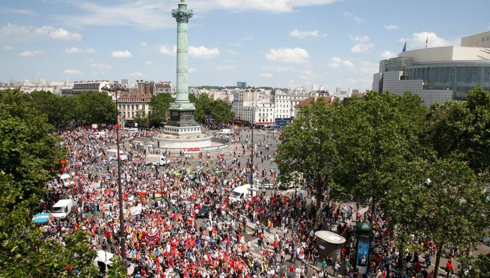 Manifestación en la Plaza de la Bastilla