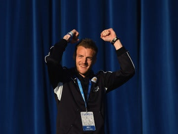 Jamie Vardy celebra la Premier conseguida por el Leicester