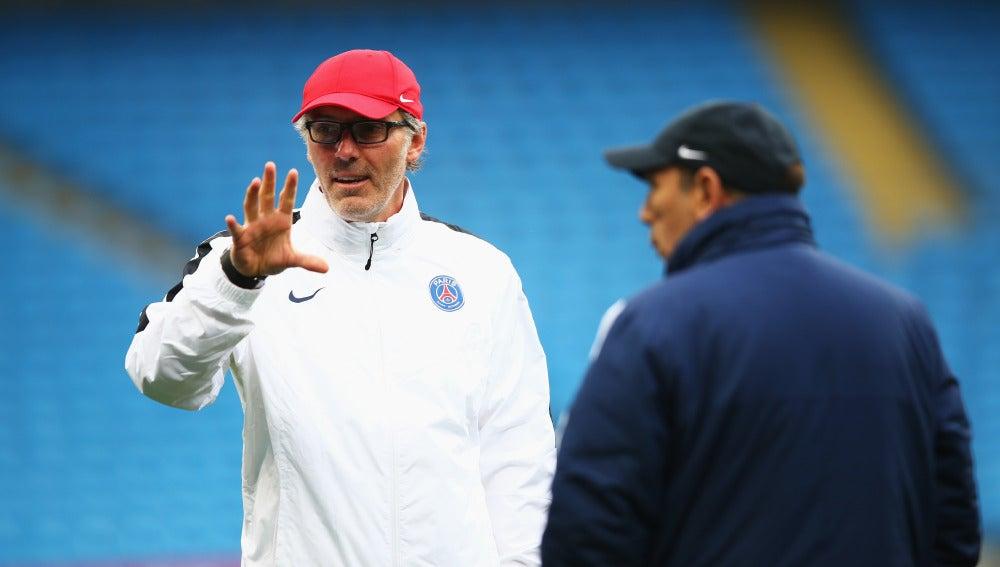 Laurent Blanc, en un entrenamiento del PSG
