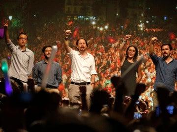 Candidatos de Unidos Podemos la noche del 26J