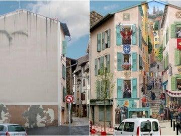 Transforma una aburrida fachada en una concurrida calle