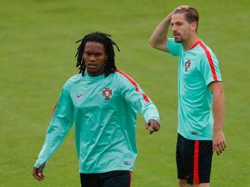 Renato Sánchez, en un entrenamiento con Portugal