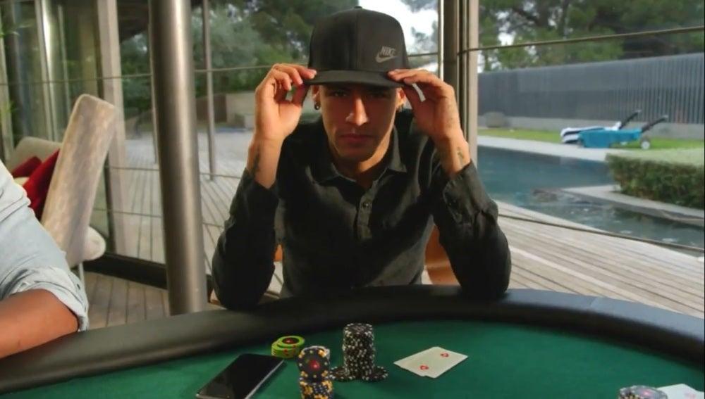 Neymar haciendo un truco de magia