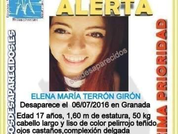 Imagen de la joven desaparecida difundida por la Guardia Civil.