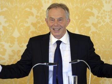 Tony Blair durante una rueda de prensa