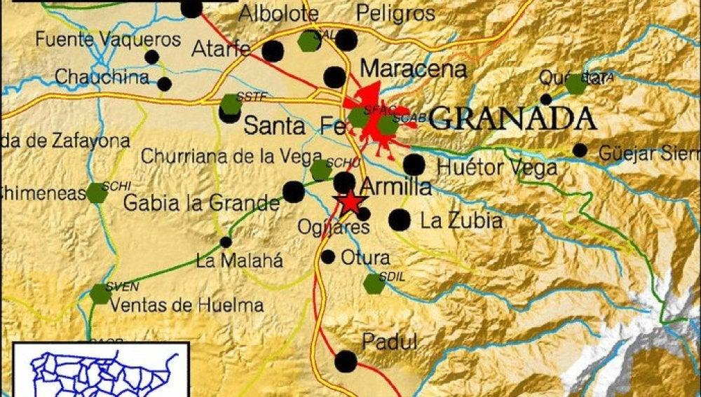 Epicentro del terremoto de Granada.
