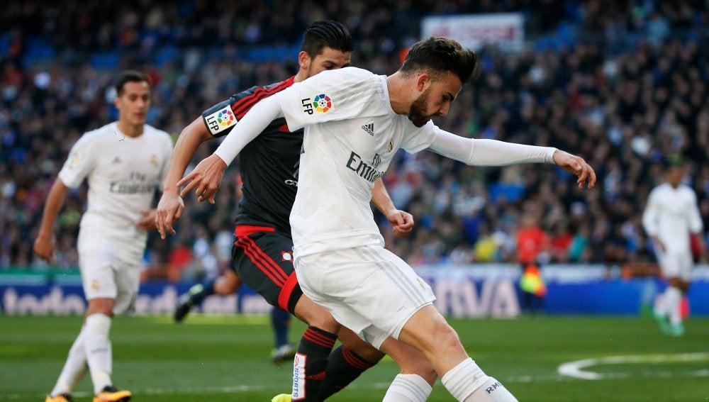 Borja Mayoral, en un partido del Real Madrid