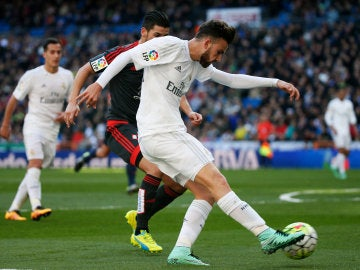 Borja Mayoral, en un partido del Real Madrid